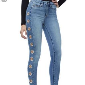 Good American Good Waist 'Grommet Skinny Jeans'